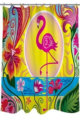 PETGOOD Duschvorhang Flamingo Blossom Sun viele schöne Duschvorhänge zur Auswahl, hochwertige Qualität, Wasserdicht, Anti-Schimmel-Effekt 180 x 180 cm - 1