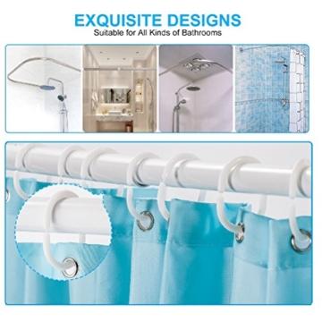 Qile 180 x 180cm Duschvorhang, Anti-Schimmel 100% Polyester Badewanne Duschvorhänge, 3D Effekt und Digitaldruck, Wasserdicht mit 12 weißen Haken (Mehr als nur Flamingos) - 3