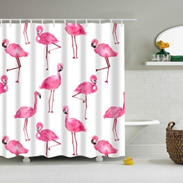 Qile 180 x 180cm Duschvorhang, Anti-Schimmel 100% Polyester Badewanne Duschvorhänge, 3D Effekt und Digitaldruck, Wasserdicht mit 12 weißen Haken (Mehr als nur Flamingos) - 1