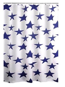 Ridder Duschvorhang Textil Star blau 180x200 cm - 1