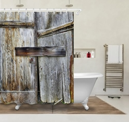 Rustikale Land Scheune Holz Tür Bad Duschvorhang für Bad, wasserdicht, Polyester Stoff, 150W x180H (60W x72H Zoll), grau - 1