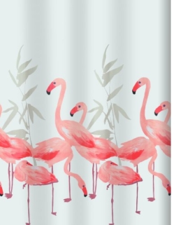 Spirella 10.16355  Textil-Duschvorhang 180 x 200 cm, Flamingo Salmon - 1