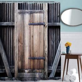 ToHa Duschvorhang anti Schimmel Langes Leben Zaun Holz Tür Moderner Stil Duschvorhang textil 180x200 - 1