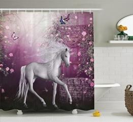 Violetpos Duschvorhänge Einhorn in der Rose Garden Schmetterlinge Duschvorhang Badezimmer Dekorative 120 x 180 cm - 1