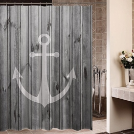 Violetpos Rustikaler grauer Anker Holz Duschvorhang Badezimmer Dekorative 180 x 200 cm - 1