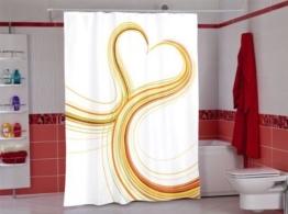 wohnideenshop Herz Duschvorhang Textil, 180cm breit x 200cm lang, mit Ringen - 1