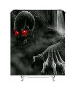 YANZHEN 3D Druck Gothic Duschvorhang Wasserdicht Mouldproof Horror Bad Vorhang mit Haken - Schwarz (Alle Größe) -Mehrere Größen optional ( Farbe : A , größe : 200*180CM ) - 1