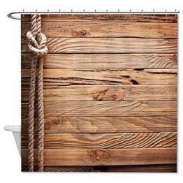 Ynes Polyester Duschvorhang VINTAGE HOLZ Dick Saite Badezimmer Wasserdicht 182,9x 182,9cm - 1