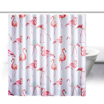 ZeWoo Flamingos Duschvorhang aus Stoff mit 12 Duschvorhangringe ...