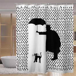 100% Polyester Duschvorhang Weiß , Gentleman Regenschirm Schwarze Katze Muster Nein Transparent Textil Waschbar Wasserdicht Bad Waschraum Mit Genug Ringe Haken 180 * 180 cm - 1