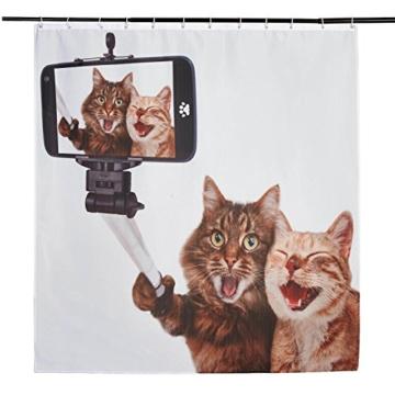 3D Digitaldruck Polyester Duschvorhänge Anti-Schimmel Wasserdicht Mildewproof Badvorhang mit 12 Stück C-Haken für Badzimmer (Katzen) - 2