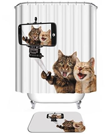 3D Digitaldruck Polyester Duschvorhänge Anti-Schimmel Wasserdicht Mildewproof Badvorhang mit 12 Stück C-Haken für Badzimmer (Katzen) - 1