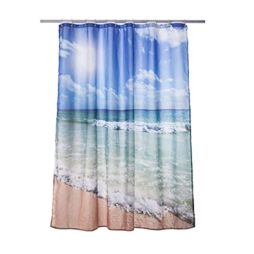 Alicemall Duschvorhang Strand Blau 180x180 Textil Schimmelresistenter Stoff Shower Curtain Vorhang
