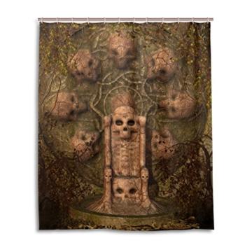 Bad Vorhang für die Dusche 152,4x 182,9cm Dark Gothic Totenkopf Grabstein Welken Blätter Polyester-Schimmelfest-Badezimmer Vorhang - 1