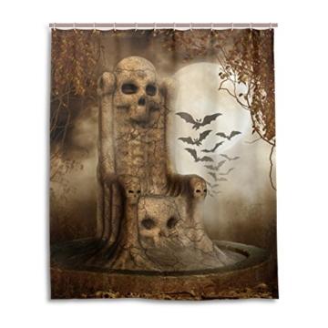 Bad Vorhang für die Dusche 152,4 x 182,9 cm Gothic Totenkopf Grabstein Dark Bat Wolken Nacht Art Polyester-Schimmelfest-Badezimmer Vorhang - 1