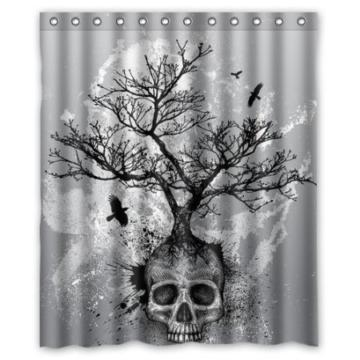 BBFhome Hem Gewichte Duschvorhang 180 x 180 CM Creative Schädel Baum Black Eagle - 1