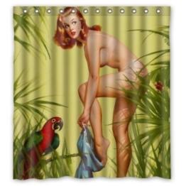BBFhome Hem Gewichte Duschvorhang 180 x 180 cm Sexy Naked Pretty Girl Wearing - Vintage Retro Pin Up Girls Badezimmer-Körper-Kunst-Leinwand-Malerei-Art-wasserdichte Polyester-Gewebe 12 Haken - 1