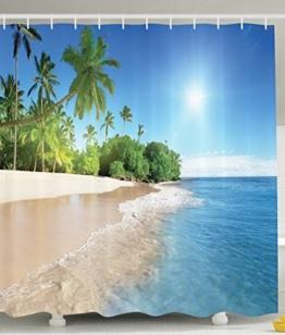 BBFhome Ozean-Dekor-Kollektion Tropische Palmen an einem sonnigen Insel-Strand-Szene Panorama Bild ansehen Polyester-Gewebe 180 x 180 cm Bad Duschvorhang Set mit Haken Blau Grün Weiß Multicolor - 1