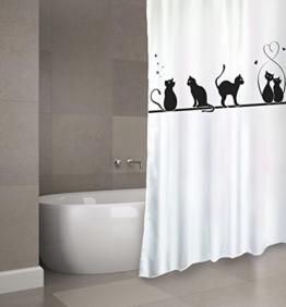"""Cotexsa by MSV Premium Anti-Schimmel Textil Duschvorhang - Anti-Bakteriell, waschbar, 100% wasserdicht, mit 12 Duschvorhangringen - Polyester, """"Katze"""" 180x200cm – Made in Spain - 1"""