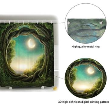 Duschvorhang Anti Schimmel, viele schöne Duschvorhänge zur Auswahl, hochwertige Qualität, inkl. wasserdicht, Anti Schimmel Effekt, Enchanted Wald Duschvorhang, 180 x 180 cm - 2