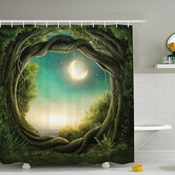 Duschvorhang Anti Schimmel, viele schöne Duschvorhänge zur Auswahl, hochwertige Qualität, inkl. wasserdicht, Anti Schimmel Effekt, Enchanted Wald Duschvorhang, 180 x 180 cm - 1