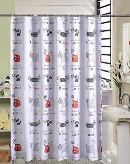Duschvorhang Anti-Schimmel & Wasserdicht Karikatur Katzen Motiv Badezimmer Badvorhang mit verstärktem Saum, mit Haken 220 x 200cm Weiß - 1
