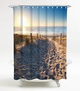 Duschvorhang Düne 180 x 180 cm, hochwertige Qualität, 100% Polyester, wasserdicht, Anti-Schimmel-Effekt, inkl. 12 Duschvorhangringe - 1