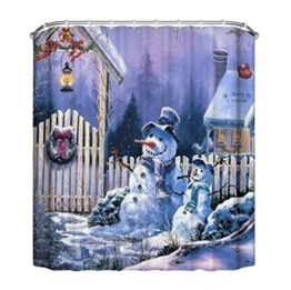 Duschvorhang, Frashing 150cm*180cm Neues Weihnachten wasserdicht Polyester Bad Duschvorhang Dekor mit Haken (A) - 1