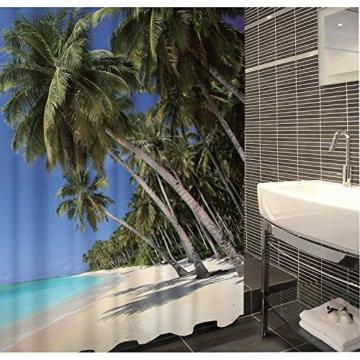 Duschvorhang Karibik Textil ( Polyester ) 180x200 cm Palmen / Strand / Urlaub wasserabweisend Anti-Schimmel waschbar / Badewannenvorhang Vorhang, hochwertige Qualität mit Ringen - 2