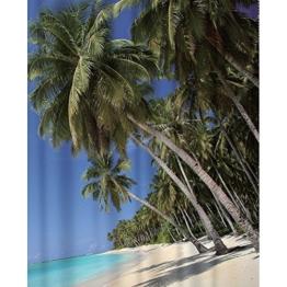 Duschvorhang Karibik Textil ( Polyester ) 180x200 cm Palmen / Strand / Urlaub wasserabweisend Anti-Schimmel waschbar / Badewannenvorhang Vorhang, hochwertige Qualität mit Ringen - 1