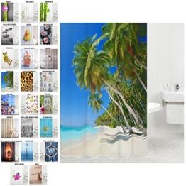 Duschvorhang, viele schöne Duschvorhänge zur Auswahl, hochwertige Qualität, inkl. 12 Ringe, wasserdicht, Anti-Schimmel-Effekt (Karibik, 180 x 180 cm) - 1