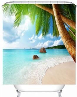 Exotic Beach klares Wasser und Palm Tree by the Shore mit Bright Sky Landschaft Bild? Decor Badezimmer Textil Freizeit Traveler Explorer Print Stoff Duschvorhang (cs-yl29–1), 1, 59x71inch - 1