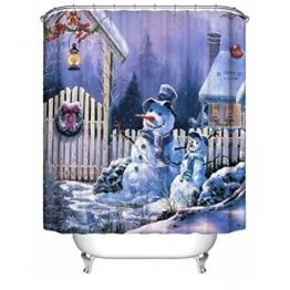 Frohe Weihnachten Stoff Wasserdichte Badezimmer Duschvorhang Shower Curtain+ Haken 180x180cm(72x72 inch), #17 - 1