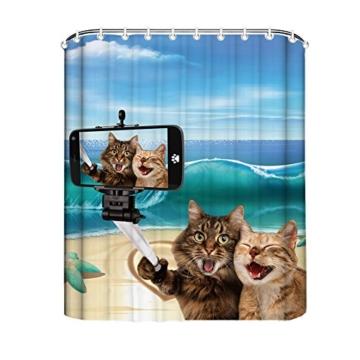 Gd Designs Duschvorhang Katze Anti Schimmel Badvorhang Badezimmer