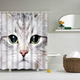 GWELL Tier Wasserdichter Duschvorhang Anti-Schimmel inkl. 12 Duschvorhangringe für Badezimmer 180x200cm Katze - 1