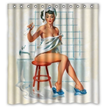 Jane Sexy Bathroom Art Shower Curtain With Hooks Pretty Girl Bathing Vintage Retro Pin Up Girls Body Art Work Canvas Painting Style Waterproof Polyester Fabric 66(W)X72(H) 66x72inch by Shower Curtain - 1