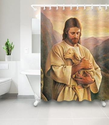 Jesus Christ Christentum Baden Duschvorhang Liner antibakteriell und Schimmelresistent Polyester Badewanne Badezimmer Waschraum WC WC-Vorhang Dekor mit 12Haken, 01, 150x180 - 2
