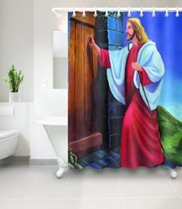 Jesus klopfte an die Tür_Dekor Duschvorhang für Badezimmer,Wasserdicht Polyester Stoff Bad Vorhang,59W x71H - 1