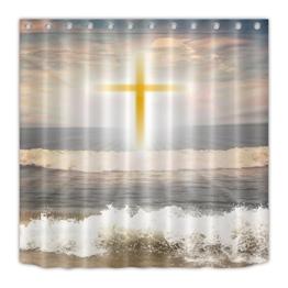 """Jesus Kreuz/Meer,Duschvorhang aus mehltauresistente Polyester,71 """"x 71""""(180 x 180 cm) - 1"""