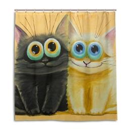 jstel Decor Duschvorhang weiß und schwarz Katzen Big Muster Print 100% Polyester Stoff 167,6x 182,9cm für Home Badezimmer Deko Dusche Bad Vorhänge mit Kunststoff Haken - 1