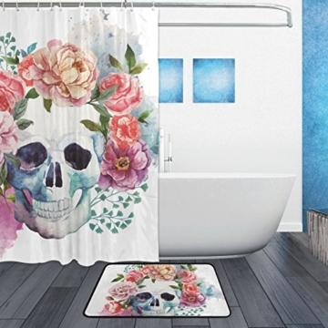 jstel Totenkopf Blume 3-teiliges Badezimmer Set, maschinenwaschbar für den täglichen Gebrauch, inkl. 152,4x 182,9cm Wasserdicht Duschvorhang, 12Dusche Haken und 1rutschfeste Badezimmer Teppich Carpet–Set von 3 - 2