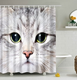 Katze Badezimmer Duschvorhang, Anti-Schimmel 100% Polyester Badewanne Duschvorhänge, 3D Effekt und Digitaldruck, Wasserdicht mit 12 weißen Haken, 180 x 180cm - 1