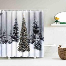 LCLrute 1er Weihnachtsvorhang wasserdicht Polyester Badezimmer Duschvorhang Dekor mit Haken 59x71inch (D) - 1