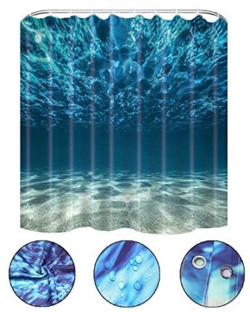 Lonior Wasserdichter Duschvorhang Anti-Schimmel Duschvorhänge 3D Badvorhänge Anti-Bakteriell Dusche Vorhang 180 x 180 cm mit 12 Duschvorhangringe für Badezimmer, Meer - 2