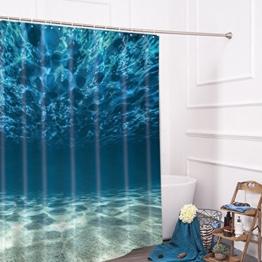 Lonior Wasserdichter Duschvorhang Anti-Schimmel Duschvorhänge 3D Badvorhänge Anti-Bakteriell Dusche Vorhang 180 x 180 cm mit 12 Duschvorhangringe für Badezimmer, Meer - 1
