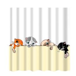 MagiDeal Duschvorhang, 180 * 180 CM Badewanne Vorhang Wasserdicht aus Polyester Stoff Dusche und 12 Haken - Karikatur Katze, 180x180cm - 1