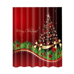 MagiDeal Duschvorhang aus Stoff - wasserdichter Duschvorhang - Weihnachten Muster - waschbarer Textil Duschvorhang in der Größe 180,0 cm x 180,0 cm - Polyester - Weihnachtsbaum # 2, 180x 180cm - 1