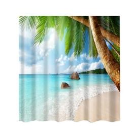 MagiDeal Duschvorhang, wasserdichter Duschvorhang, Extra lange, aus Polyester - Meer Strand, 180x180cm - 1