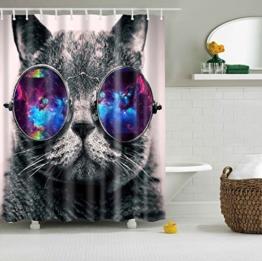 Misslight Wasserfest Duschvorhang bunte Baum Hai Tier Krake Katze Seestern Badezimmer Anti-Schimmel-Effekt Polyester Bad Vorhang wasserdicht mit Haken Digital gedruckt (Katze) - 1
