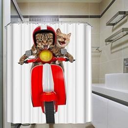 Monsiter Duschvorhang mit kreativer Motorrad-Katze-Druckmaschine waschbar Eco-freundliches wasserdichtes und Mehltau-Beweis-antibakterielles Polyester-Gewebe mit Haken (72 × 72 Zoll) - 1